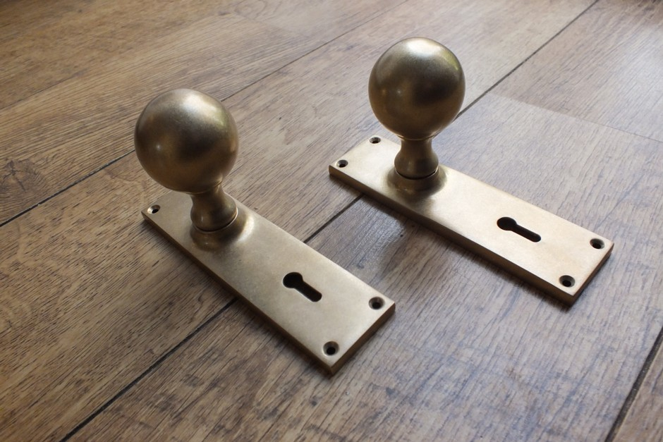 Aged Brass Door Knob, Door Knob on Backplate