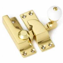 Large Straight Arm Sash Fastener with White Knob