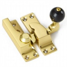 Large Straight Arm Sash Fastener with Black Knob