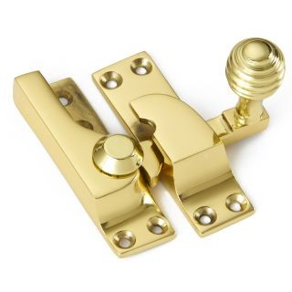 Large Straight Arm Sash Fastener with Reeded Knob