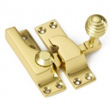 Large Straight Arm Sash Fastener with Reeded Knob[[[[