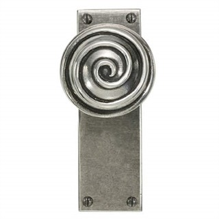 Swirl Pewter Door Knob on Latch Plate