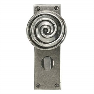 Swirl Pewter Door Knob on Bathroom Plate