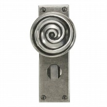 Swirl Pewter Door Knob on Bathroom Plate[[[[
