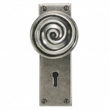 Swirl Pewter Door Knob on Lock Plate[[[[
