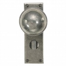 Beamish Pewter Door Knob on Bathroom Plate
