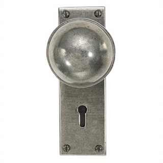 Beamish Pewter Door Knob on Lock Plate