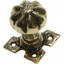Decorative Cast Brass Door Knob on Square Plate