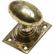 Cast Brass Oval Door Knob on Square Plate[[[[