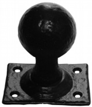 Antique Black Iron Ball Door Knob on Square Plate