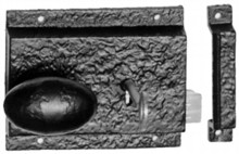 Antique Black Iron Rim Lock