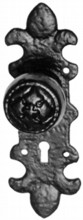 Decorative Antique Black Iron Door Knob on Plate[[[[
