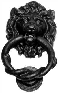 Lion's Head Antique Black Iron Door Knocker