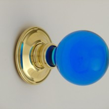 Bright Blue Balloon Glass Door Knob