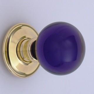 Purple Balloon Glass Door Knob British Ironmongery