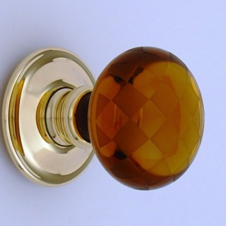 Amber Chequerboard Glass Door Knob
