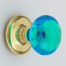 Bright Blue Chequerboard Glass Door Knob