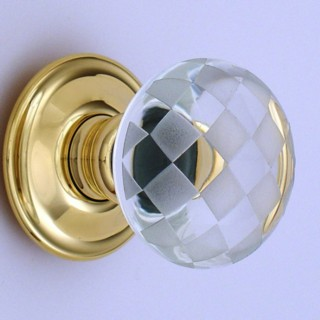Clear Chequerboard Glass Door Knob