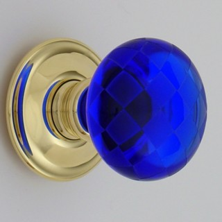 Cobalt Blue Chequerboard Glass Door Knob