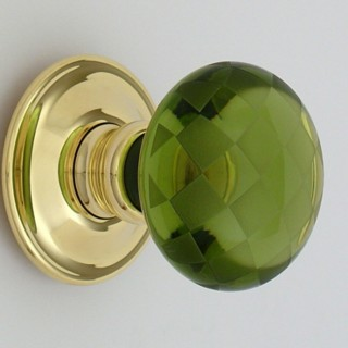 Green Chequerboard Glass Door Knob
