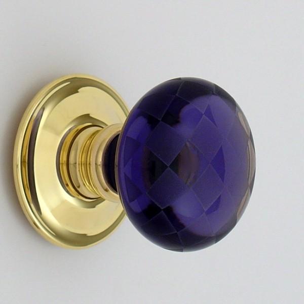 Purple Chequerboard Glass Door Knob British Ironmongery