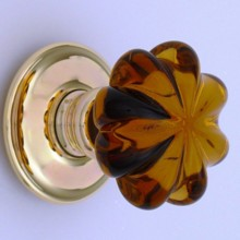 Amber Daisy Glass Door Knob