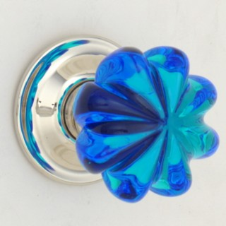 Bright Blue Daisy Glass Door Knob