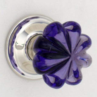 Purple Daisy Glass Door Knob