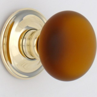 Amber Frosted Smooth Glass Door Knob