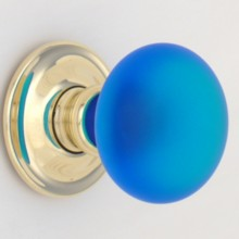 Bright Blue Frosted Smooth Glass Door Knob