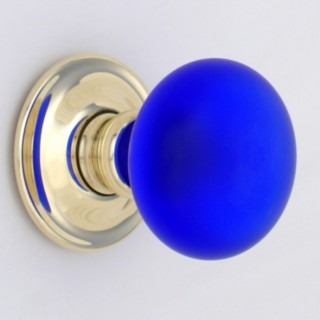 Cobalt Blue Frosted Smooth Glass Door Knob