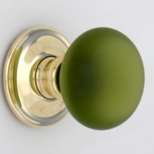 Green Frosted Smooth Glass Door Knob