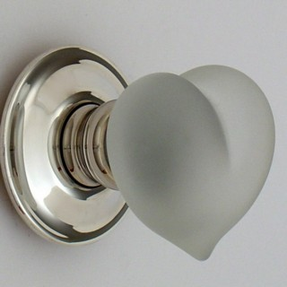 Clear Frosted Love Heart Glass Door Knob