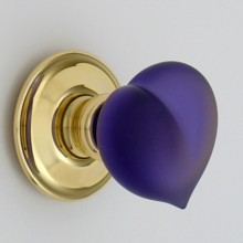 Purple Frosted Love Heart Glass Door Knob