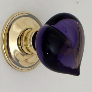 Purple Love Heart Glass Door Knob British Ironmongery