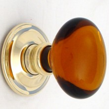 Amber Oval Glass Door Knob