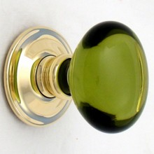 Green Oval Glass Door Knob