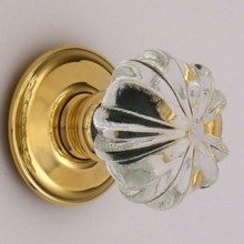 Clear Ribbed Glass Door Knob