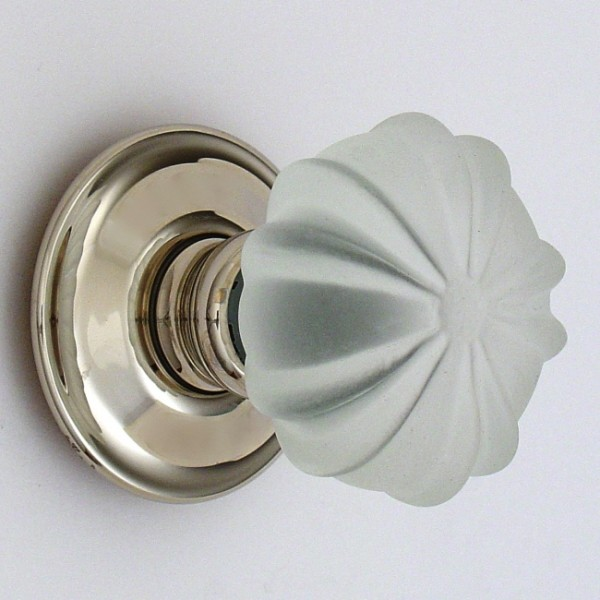 Frosted Ribbed Glass Door Knob British Ironmongery