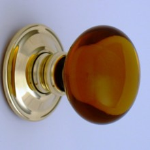 Amber Smooth Glass Door Knob