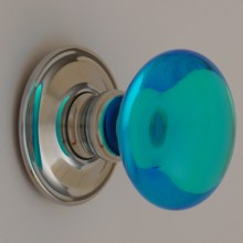 Bright Blue Smooth Glass Door Knob