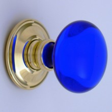 Cobalt Blue Smooth Glass Door Knob