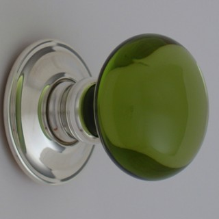 Green Smooth Glass Door Knob