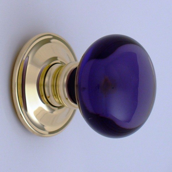 Purple Smooth Glass Door Knob British Ironmongery