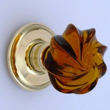 Amber Whirl Glass Door Knob[[[[