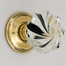 Clear Whirl Glass Door Knob