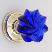 Cobalt Blue Whirl Glass Door Knob[[[[