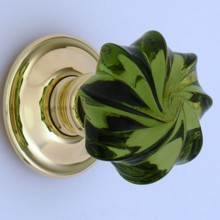 Green Whirl Glass Door Knob[[[[