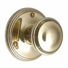 Brass Victorian Door Knob on Round Rose[[[[