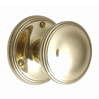 Brass Victorian Door Knobs on Round Rose